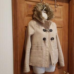 Beige Jacket size 6 womens Faux fur trim on hood